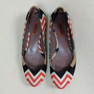 Missoni Zig Zag Ballet Flats Red Black White 36.5